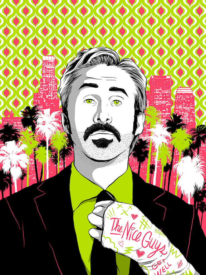 """""""Art by Luis Pint""""    """"Shane Black (Iron Man 3) directs this police drama set in Los Angeles during the 1970s, and centering on a pair of detectives who stumble into a sprawling conspiracy while investigating the alleged suicide of a once-prominent female porn star."""""""