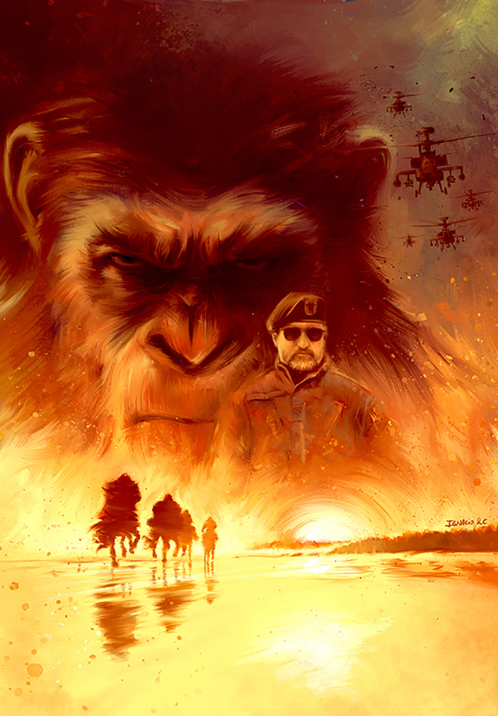 "Artwork by Ignacio   ""Caesar (Andy Serkis) and his apes are forced into a deadly conflict with an army of humans led by a ruthless colonel (Woody Harrelson). After the apes suffer unimaginable losses, Caesar wrestles with his darker instincts and begins his own mythic quest to avenge his kind."