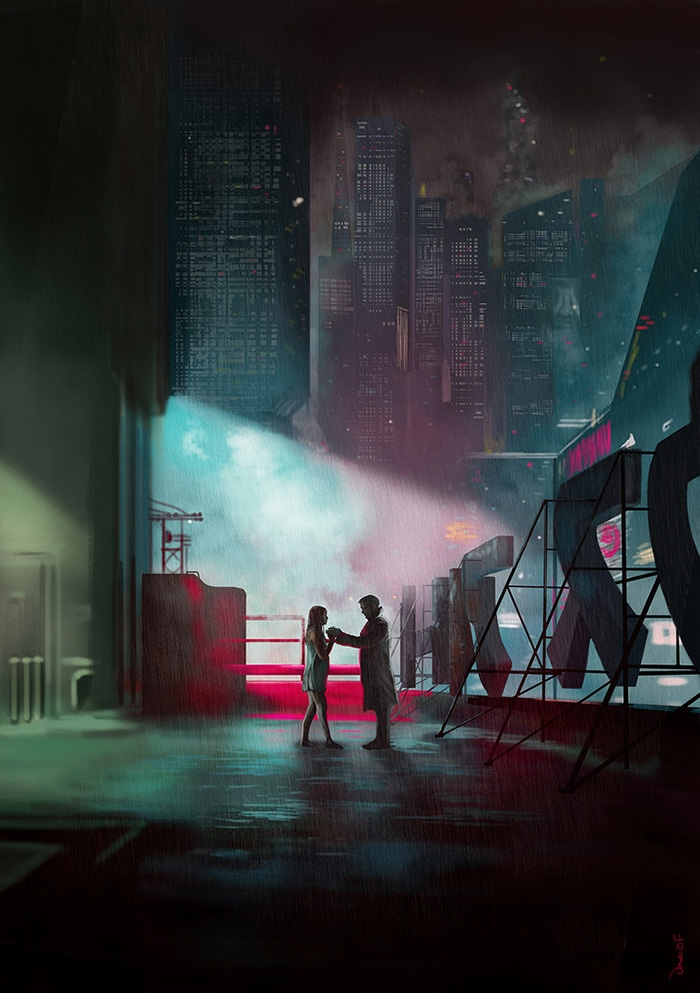 "Artwork by Dave Flanagan   ""Officer K (Ryan Gosling), a new blade runner for the Los Angeles Police Department, unearths a long-buried secret that has the potential to plunge what's left of society into chaos"""