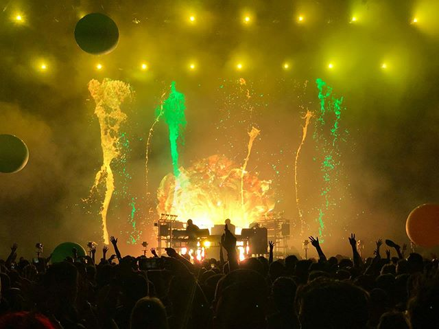 "#TheChemicalBrothers | #ForestHillsStadium #NYC | 8.1.19  I am super bummed that my dumbass forgot my SD card for my camera so I had to do the #shotonaniphone nonsense but The Chemical Brothers have been a bucketlist group for me a very long time.  They are one of the first electronic musicians I ever got into and I have been clamoring to see them ever since I was in middle school.  In the past 12 years they only came to NYC twice and only as festival headliners which kind of sucks as festivals have gotten progressively worse. But these guys are legends and this night actually came about last minute. Got shitty seats for free, someone said I could use their GA pdf for free but never got back and I ended up buying a dirt cheap GA ticket, getting a good ass spot in GA (a rarity) and getting home smoothly. Worst part was not having my camera 😭 What makes The Chemical Brothers special is they don't make generic electronic music or ""edm."" There is an artistry here, the music is unique & fresh, they play their music live & change it up and their visuals are an excellent of mash up of surreal, frightening, and stunning abstract imagery. No recycled music videos, it is a live experience and now I understand why UK folks go crazy for them, they are one of a kind and an act that has never forgotten their fans or what makes them great.  #nogeography #foresthills"