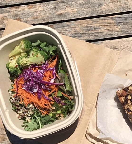 Organic salad bar and the organic granola bar from my visit to  Earthbound Organic Farms .