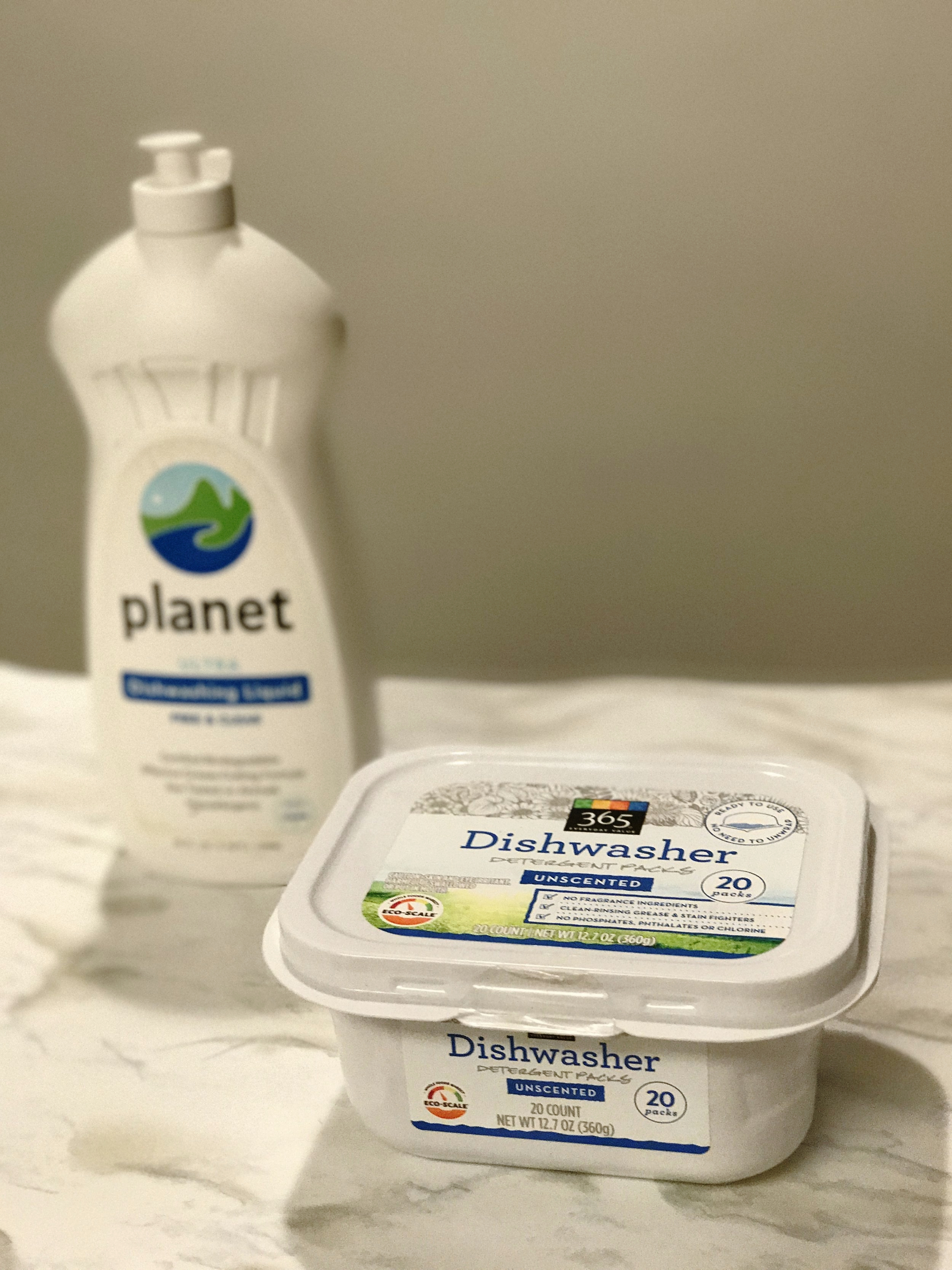 I swapped out Palmolive for  this dish soap  from Planet. I swapped out Cascade dishwasher pods for these 365 brand pods instead.
