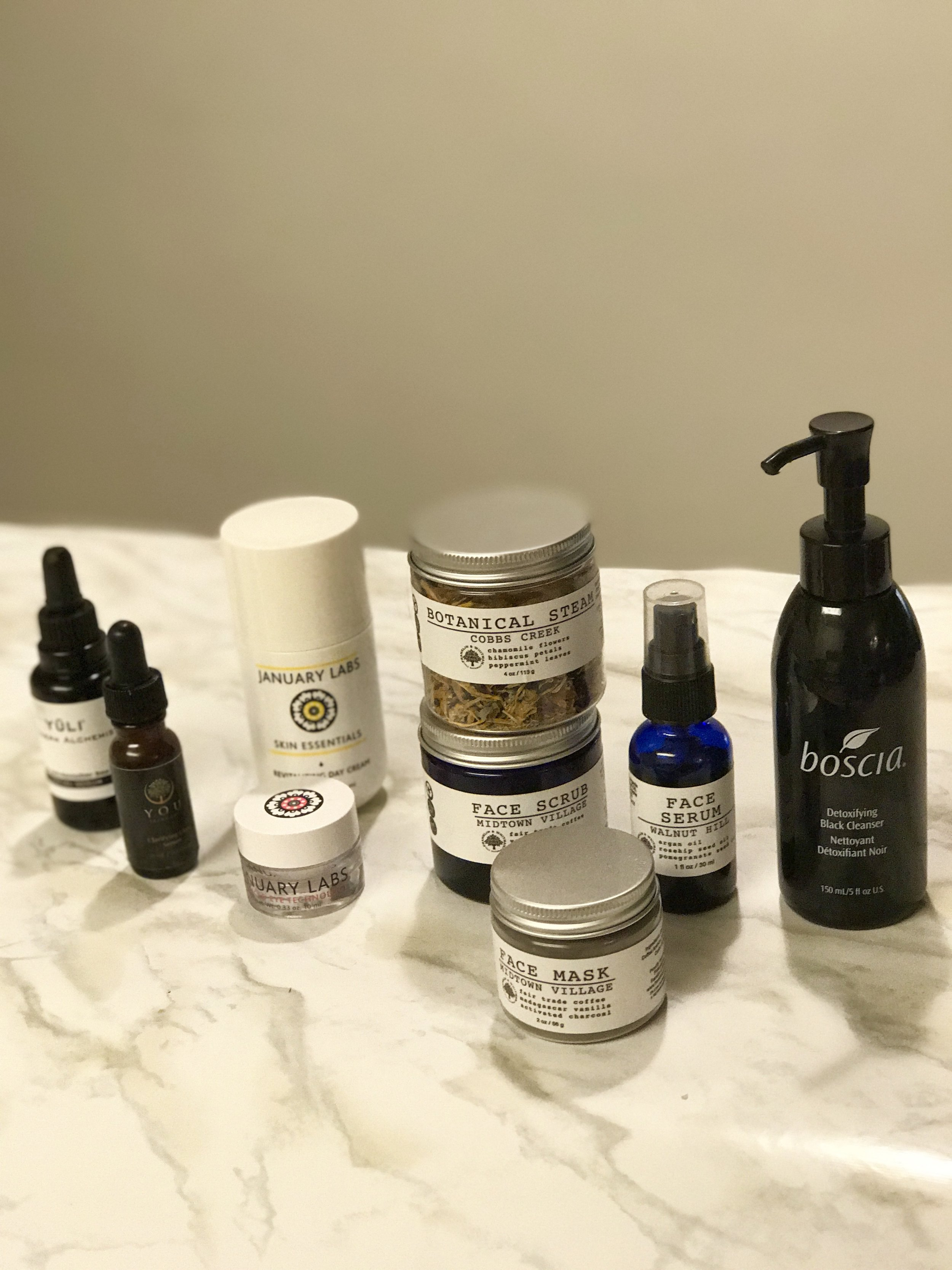 I used to use whatever skincare on my face, and (face palm), usually the more fake-o fragrance the better! I've come a long way since then. Pictured from left to right. 1.  Yuli Modern Alchemist  2.  You.Skincare Clarifying Glow Serum  3.  January Labs Revitalizing Day Cream  4.  January Labs Advanced Eye Technology  5.  This Facial Care Kit from Franklin & Whitman  when I want to do a facial AND 6.  Boscia Detoxifying Black Cleanser for every day use.