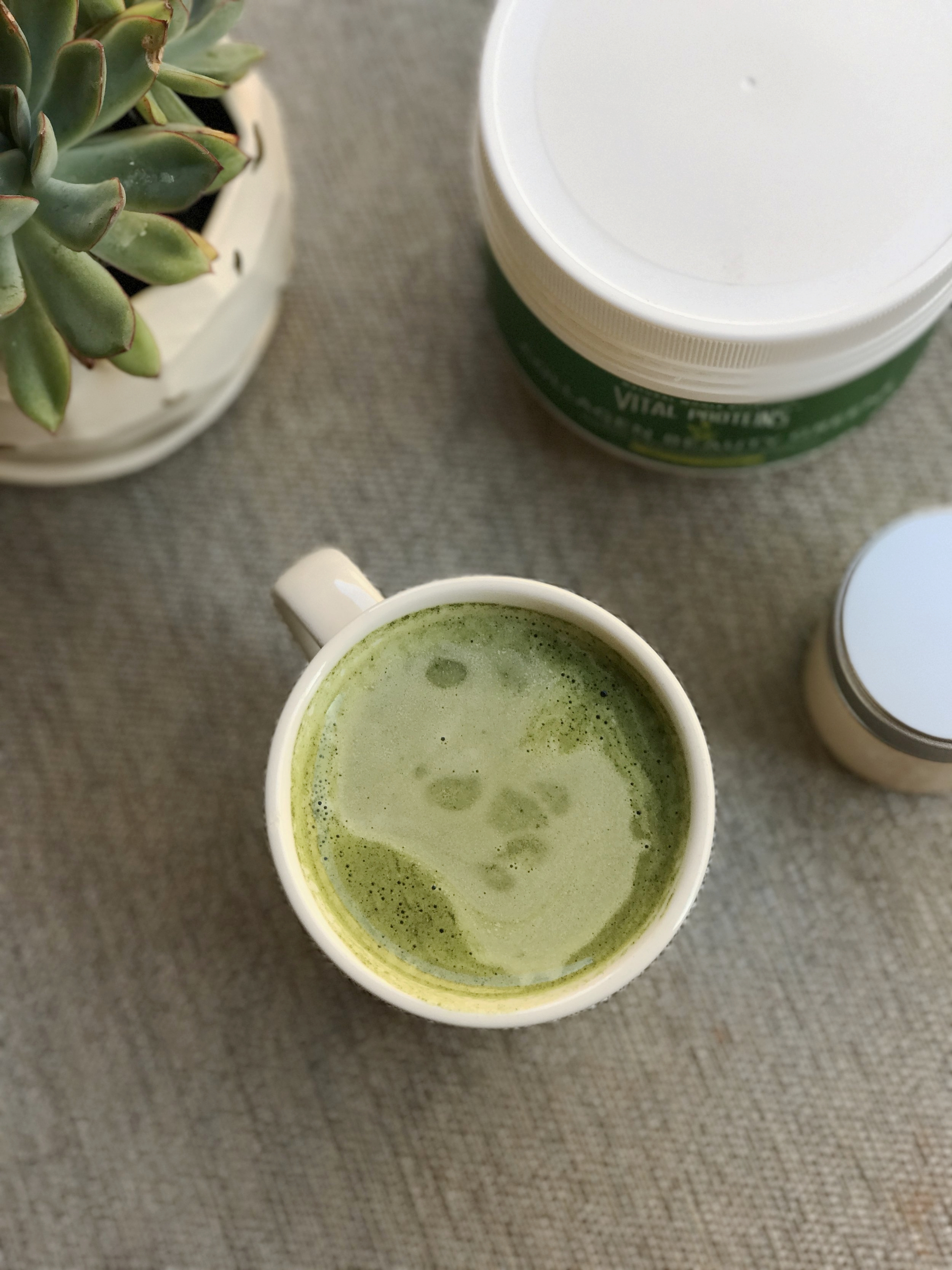Try Vital Proteins  Collagen Beauty Greens  in a hot or iced matcha latte. I drink a matcha latte every single morning.