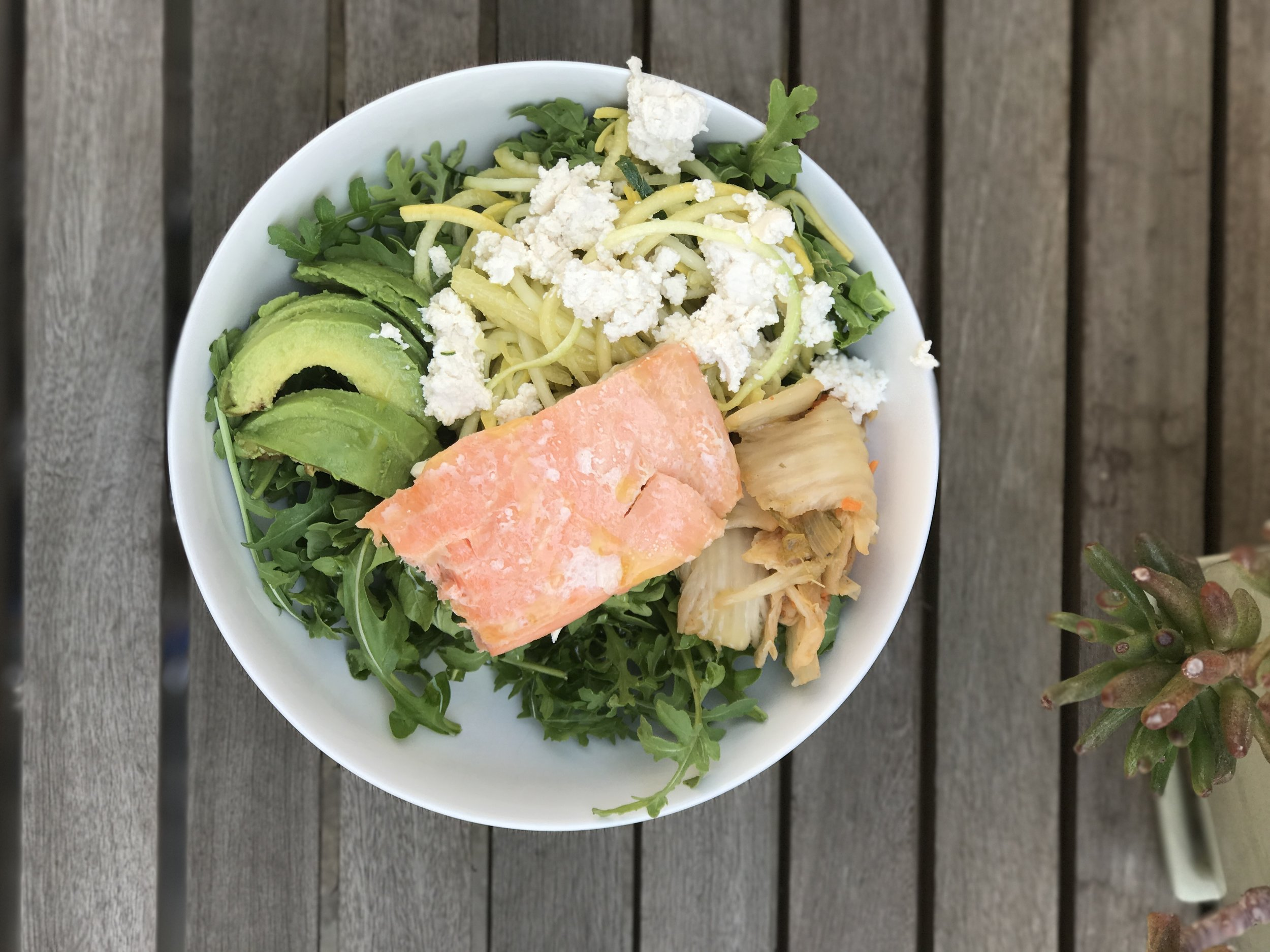 Keto Diet salad. Greens, low-carbohydrate vegetables, and healthy fats from salmon, avocado, and Kite Hill Vegan Ricotta cheese made with almonds. All of this was ordered from  Milk & Eggs . You can use the code JKCOACH for $15 off and FREE delivery!