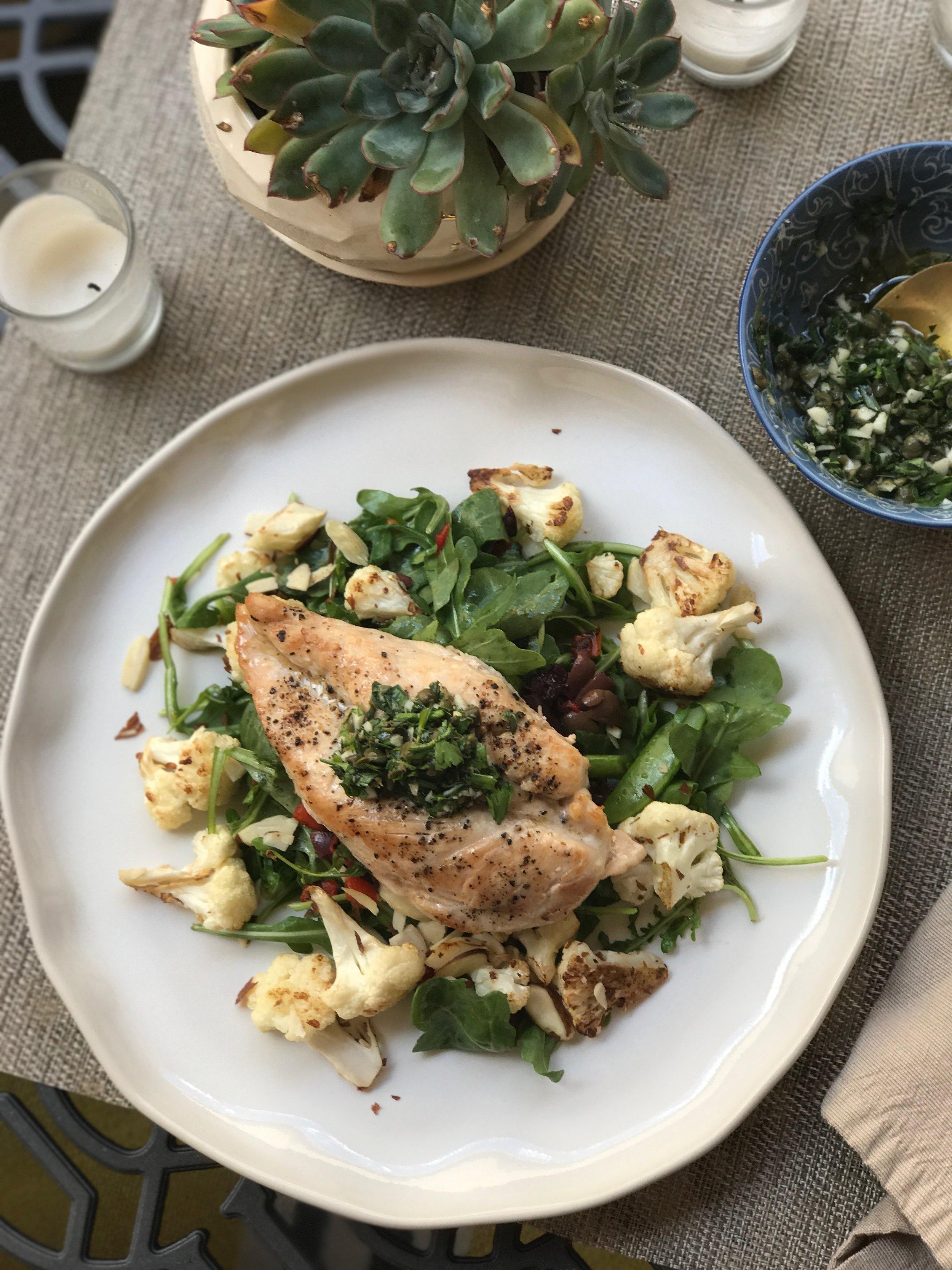 Salsa Verde Chicken  : 400 calories: 14g fat / 10g carb / 50g protein    Photo:  Reformation Health
