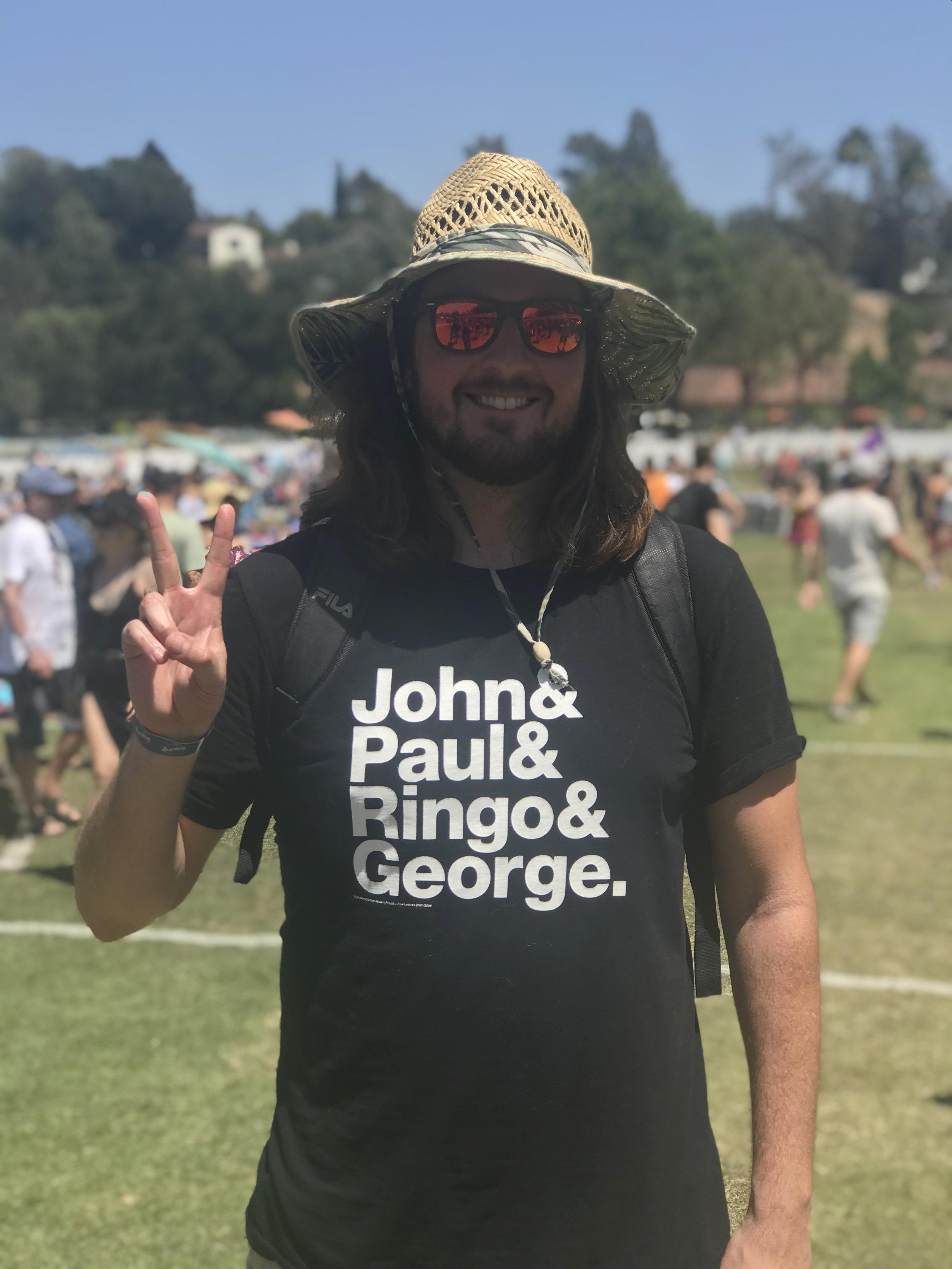 A Beatles fan near The Oaks stage.