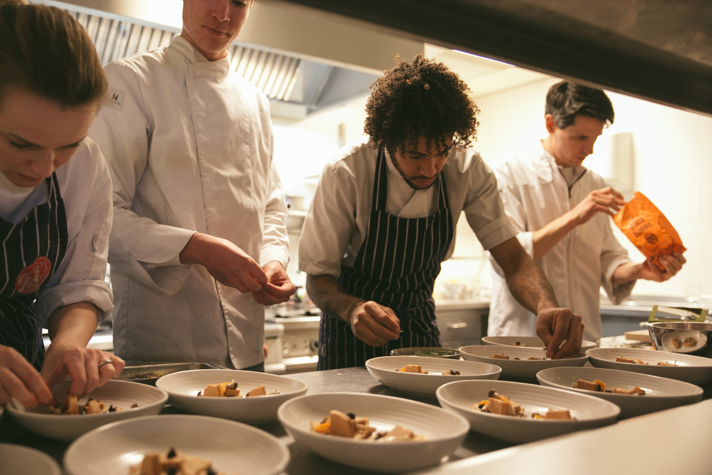 The kitchen at De Vleesch Lobby restaurant.