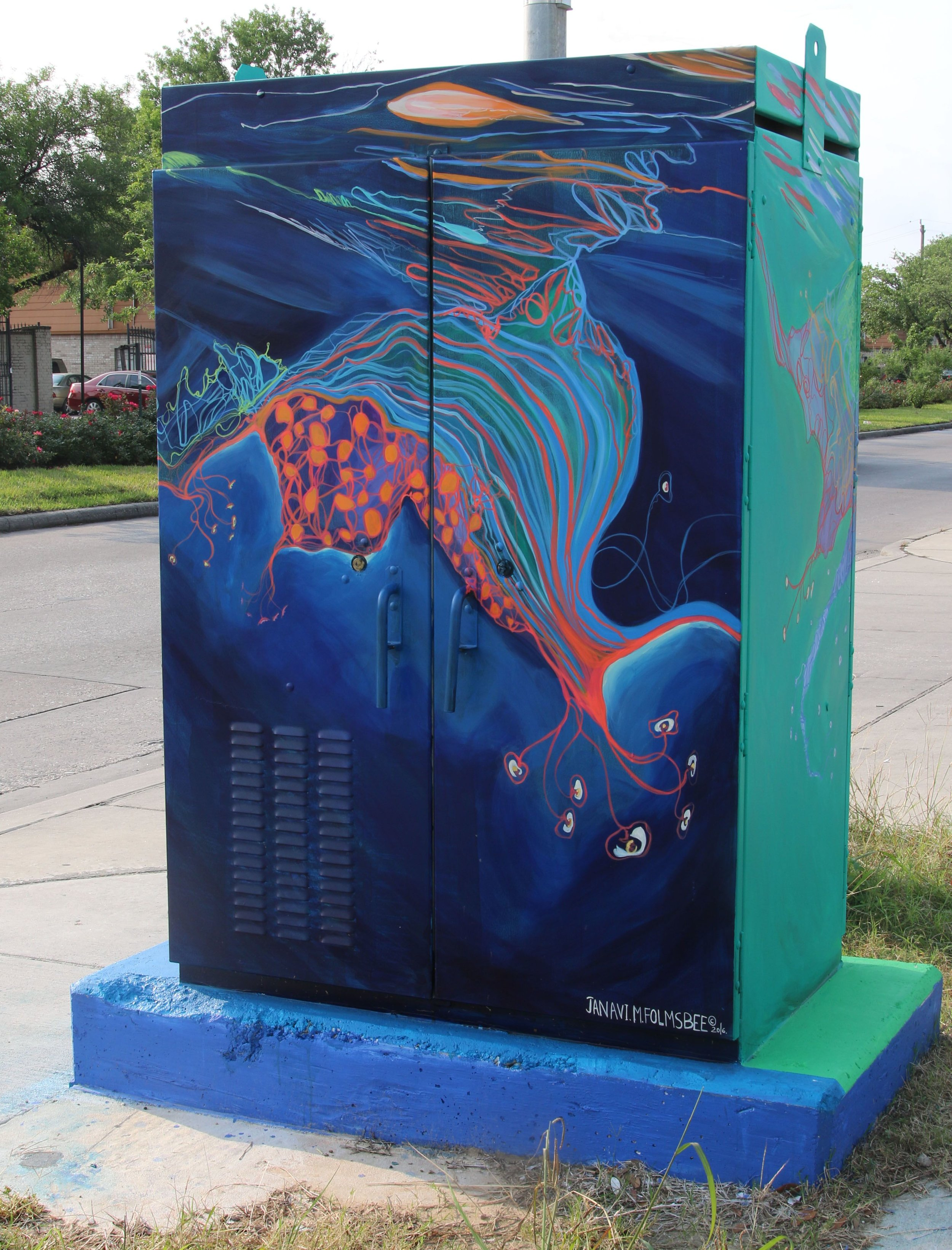 2016 Light by night and Day, Mini Mural in Houston, ( This was the first public work I did in Houston, it has a bullet hole in it and is located in Greens point, Ella & Dyna)