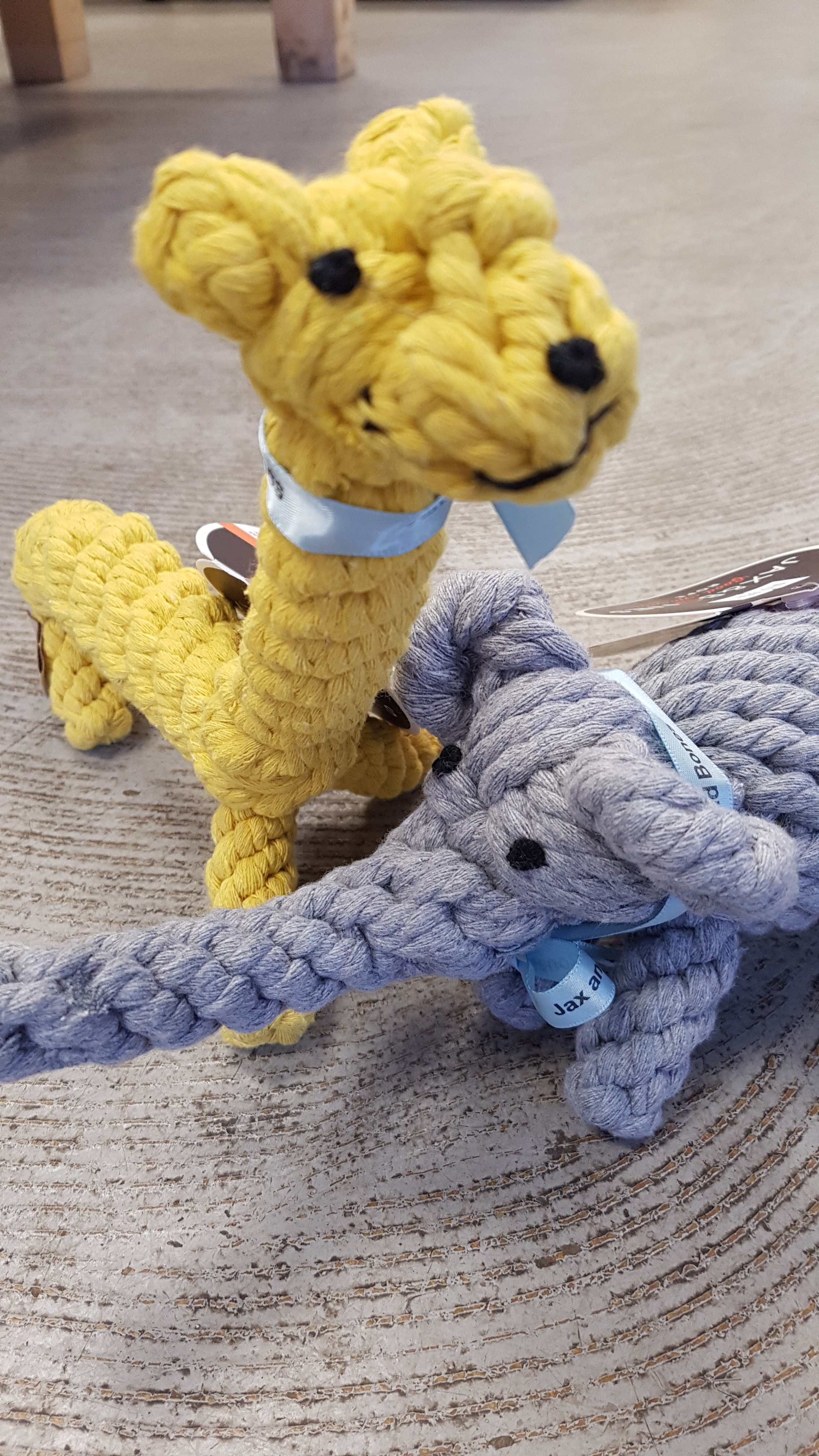 Giraffe and Elephant are happy to be made of sustainable rope.