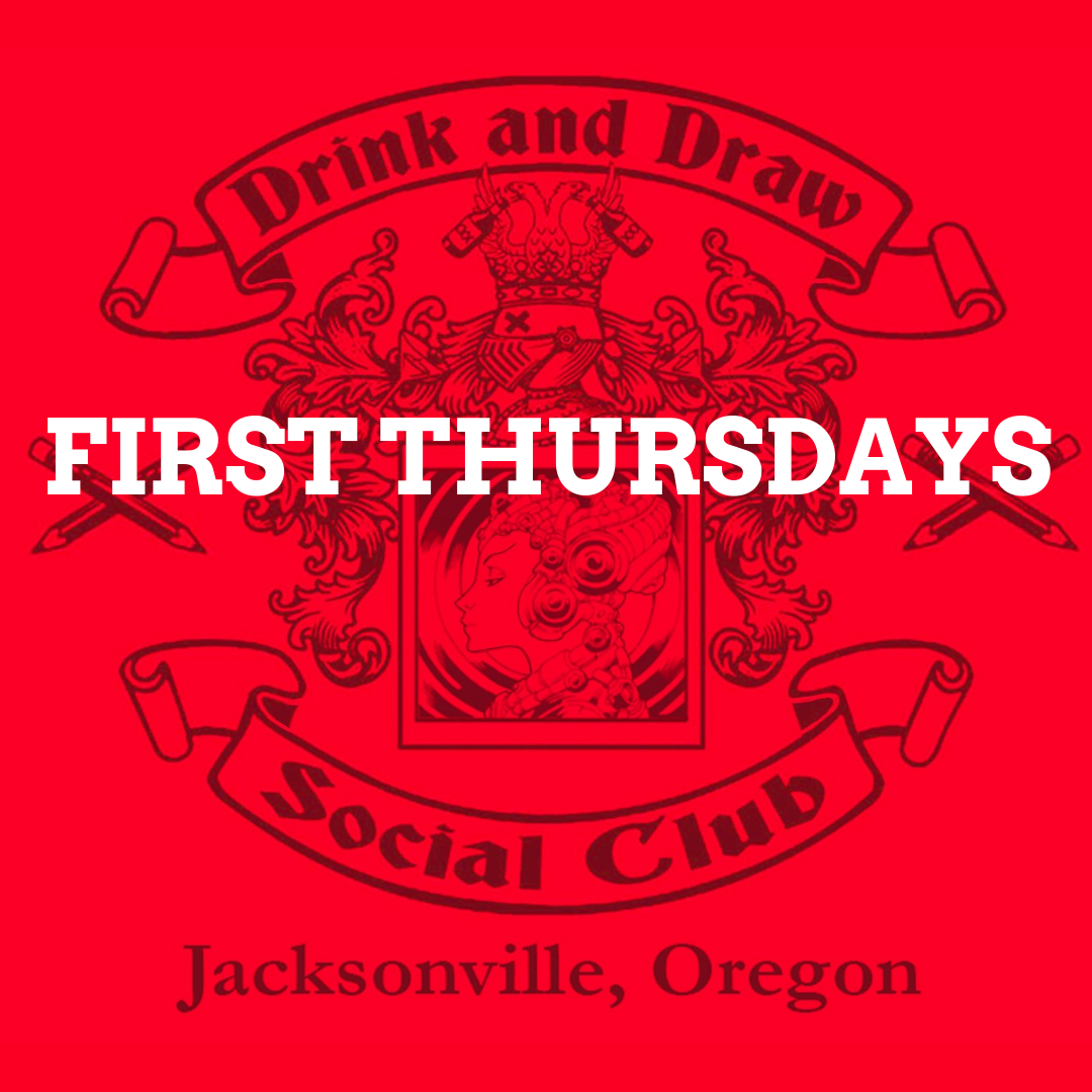 drink & draw social club - Jeff Johnson, a founding member of the original Drink & Draw Social Club, brings the event to the Rogue Valley with Rebel Heart Books. Artists, wannabe artists, art-lovers, drinkers, and more are invited to join us every first Thursday at 6:30pm.
