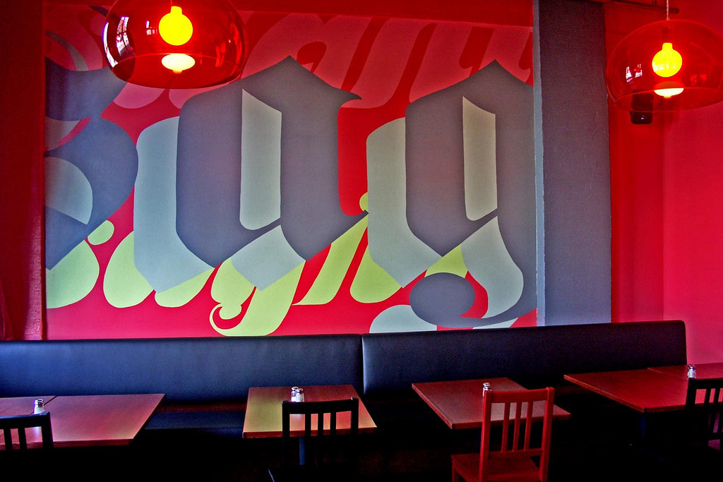 TYPE LOVE - In addition to the interior design, signage, menu development, advertising, and vibe-mastering, I painted this typography mural on the east wall of the bar. It was a gas.