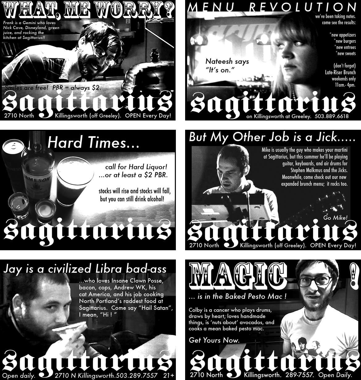 BOMB EMPLOYEES - When you have the best crew in town, you'd better feature them in the bi-monthly ads that you place in the Mercury! Snapping a phone pic and creating these quickly became one of my favorite tasks and helped me realize I needed to face the fact that designing stuff for the bar was more fun than running it.