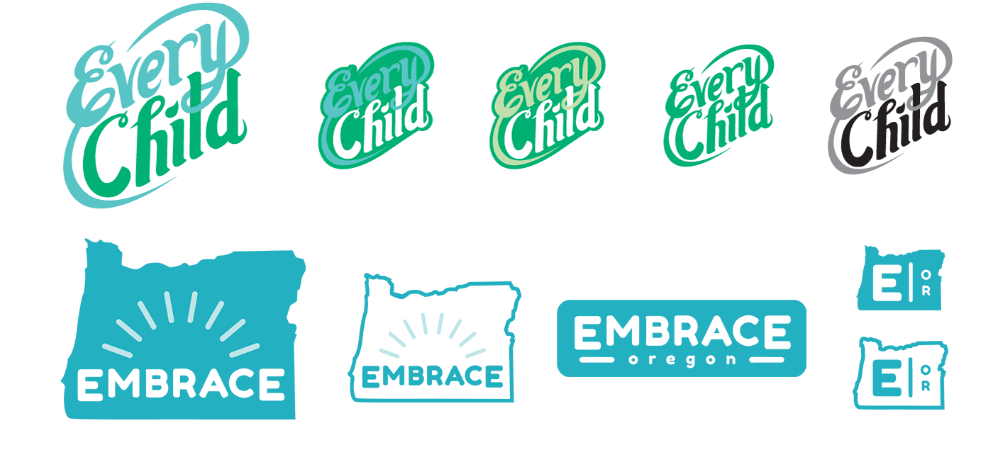 Final logos and colors for Every Child and Embrace Oregon. Read more about my process in this  blog post.