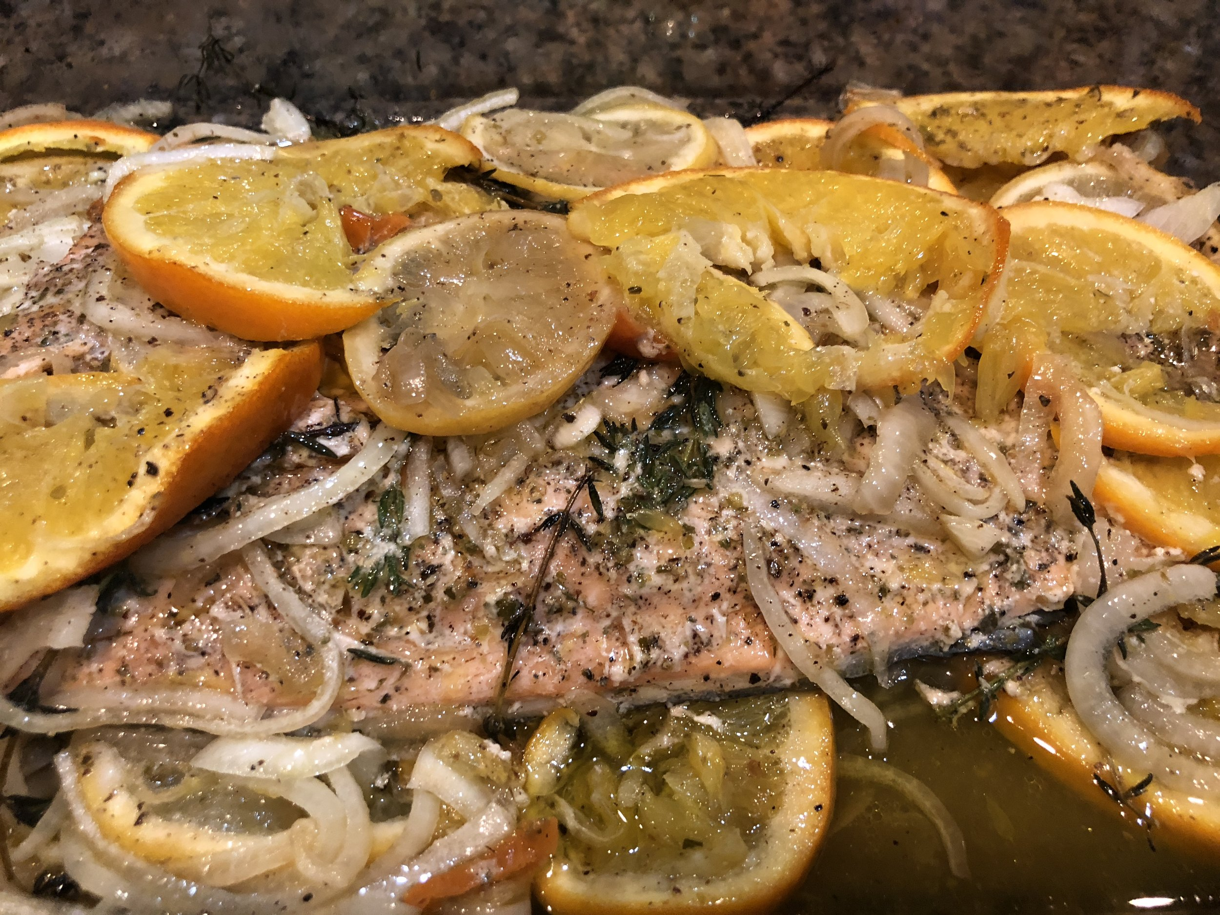 Slow roasted Salmon with citrus and chiles