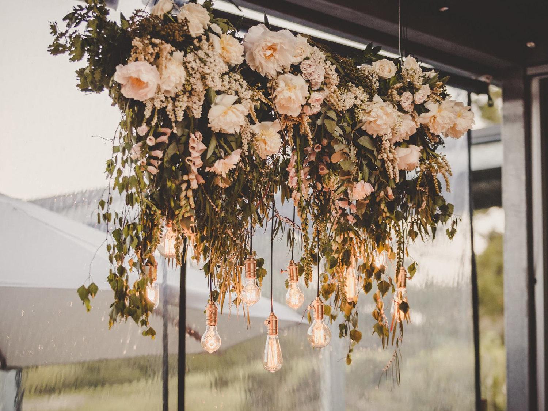 vintage bulb chandelier with floral