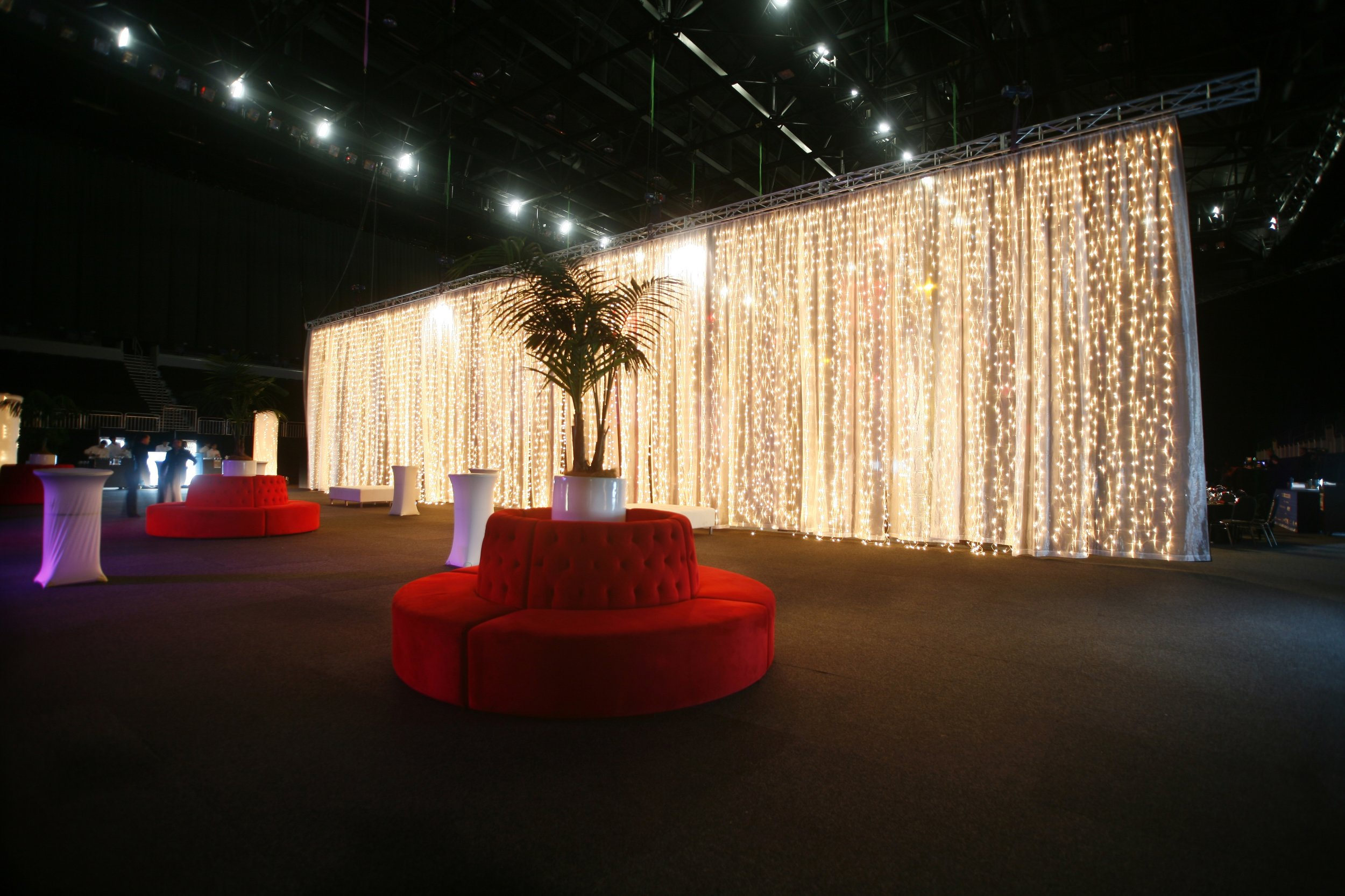 6m curtain lights with white organza