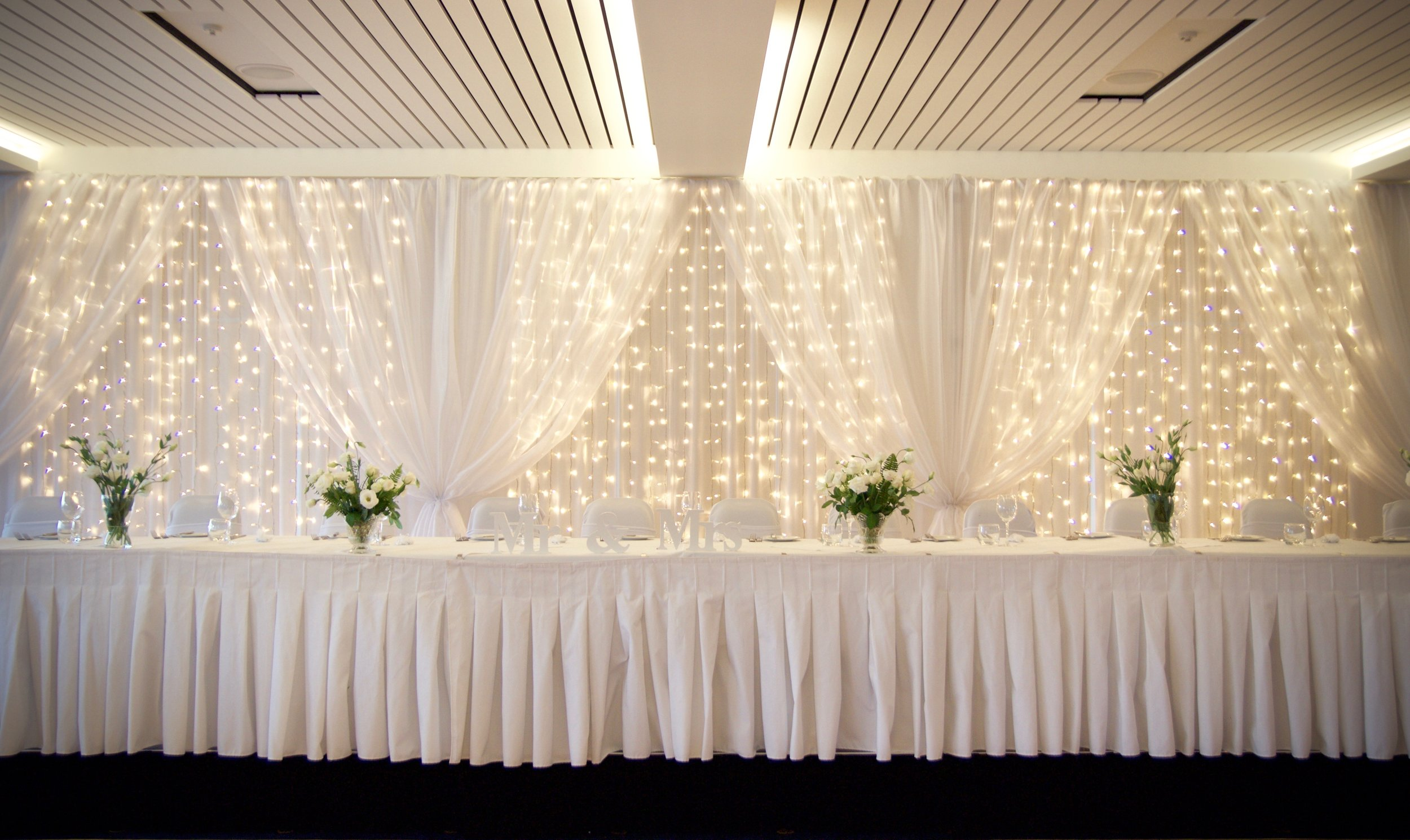 3m curtain lights with pulled organza