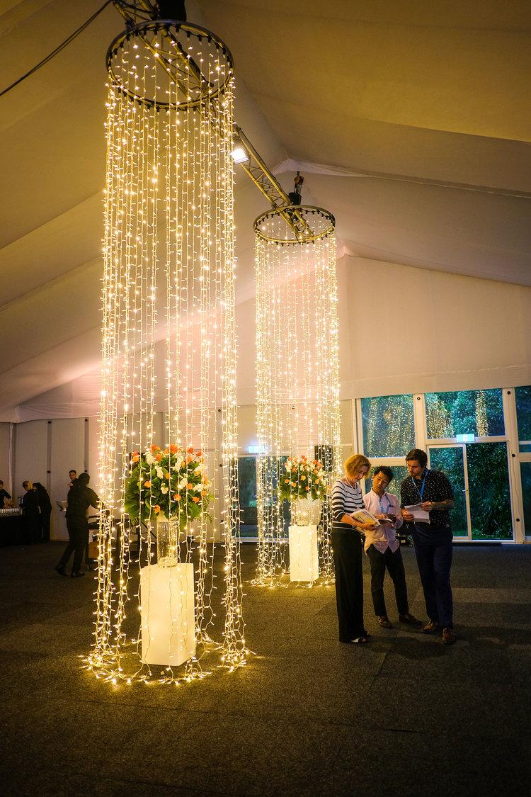 bespoke fairy light chandeliers  1400mm wide x 6m drop  *install only POA