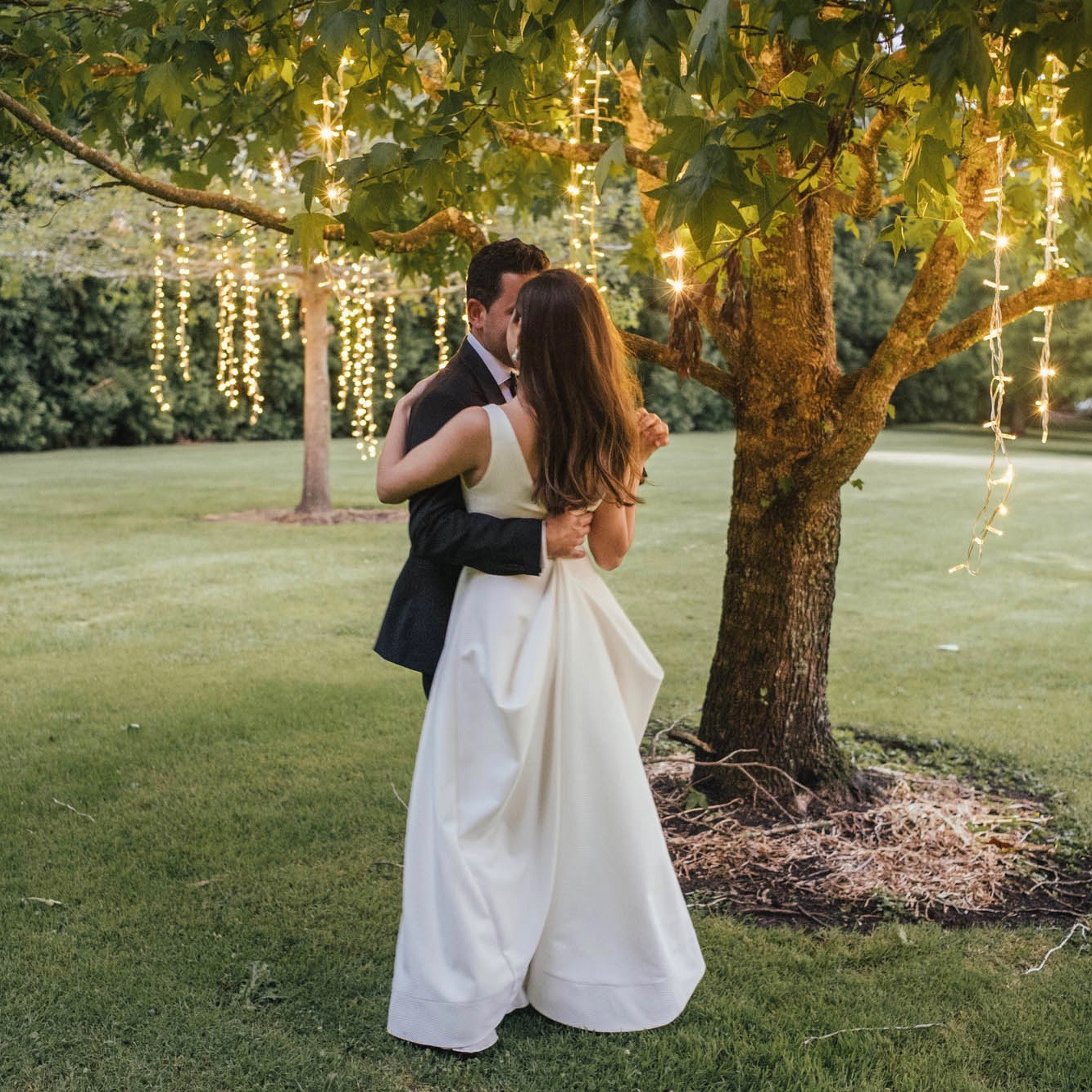 Private garden wedding  The string lights in the trees made for the most beautiful backdrop to the bridal table and we'd both like to thank you and your team so much an doing such an amazing job. The lights helped create such a unique setting for the night - beyond what we imagined we would get! So many of our guests were getting up and taking photos under the trees themselves :)