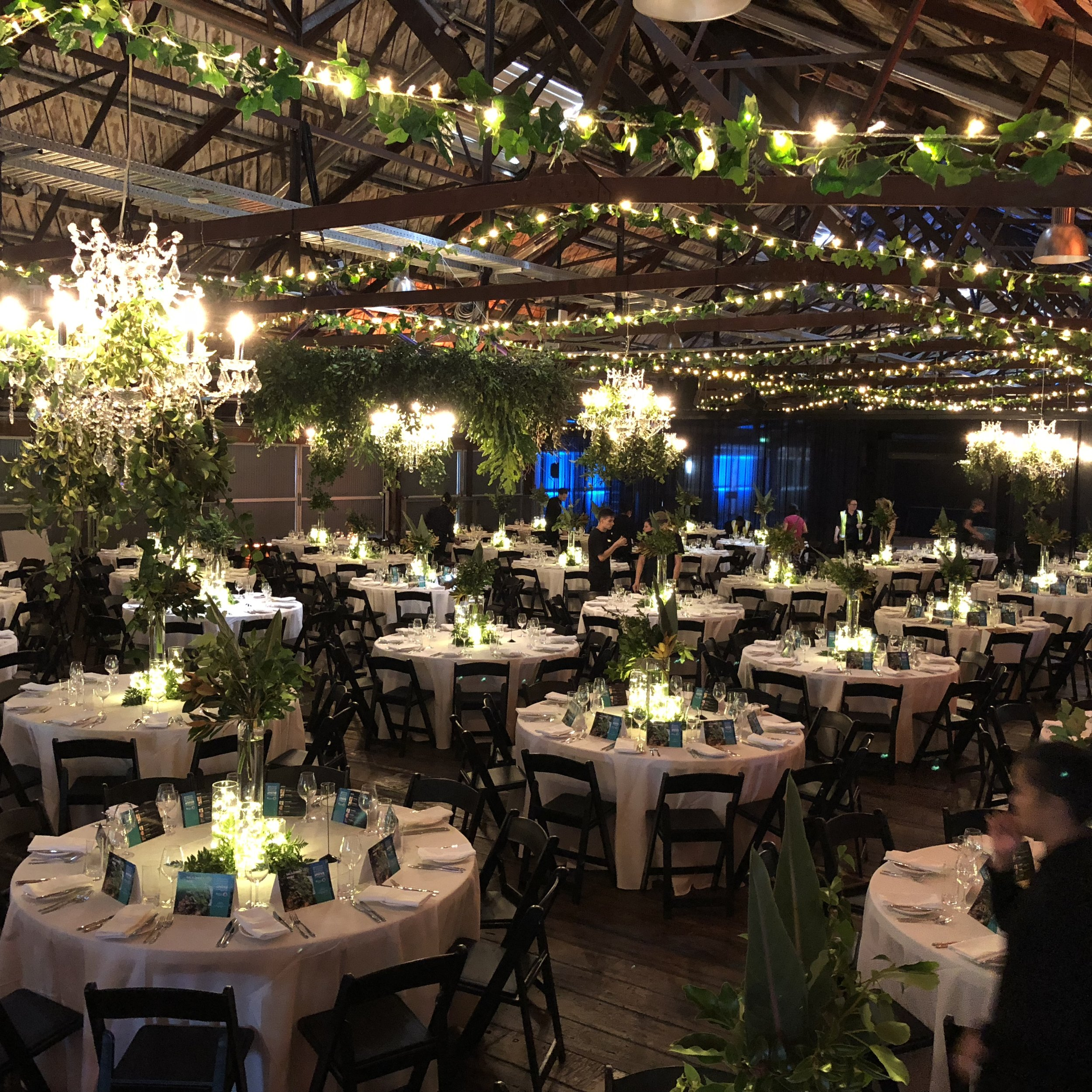 Gala Dinner, Shed 10  Thank you so much for all your work on our dinner at Shed 10 - it looked amazing and the client was so happy! It certainly transformed the Shed into the magical NZ forest vibe we were going for!