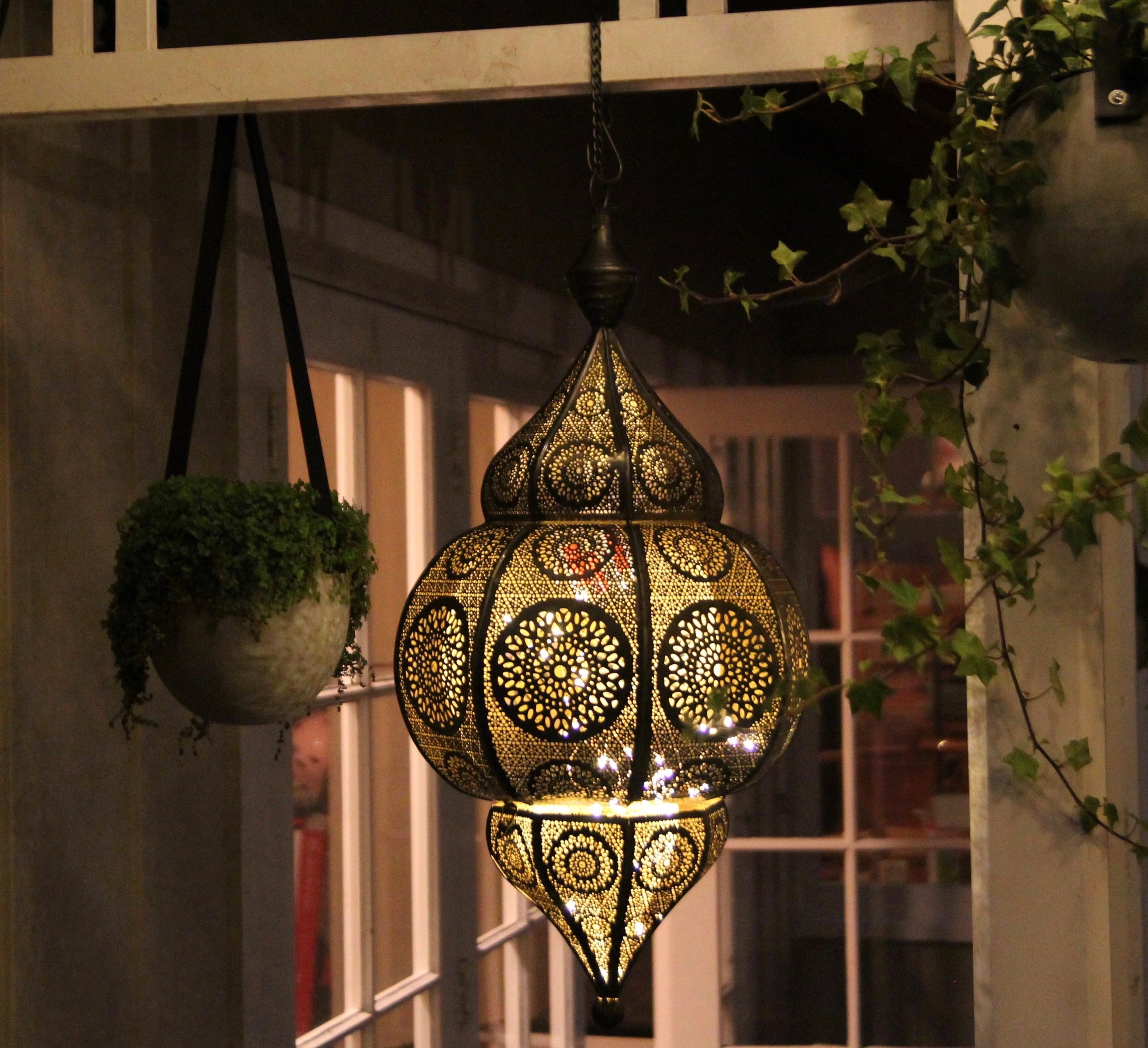moroccan lantern with bulb or battery lights inside  600mm tall  $85+gst *install only