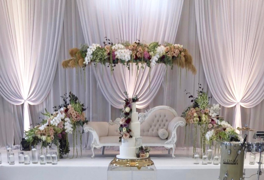draped stage backdrop