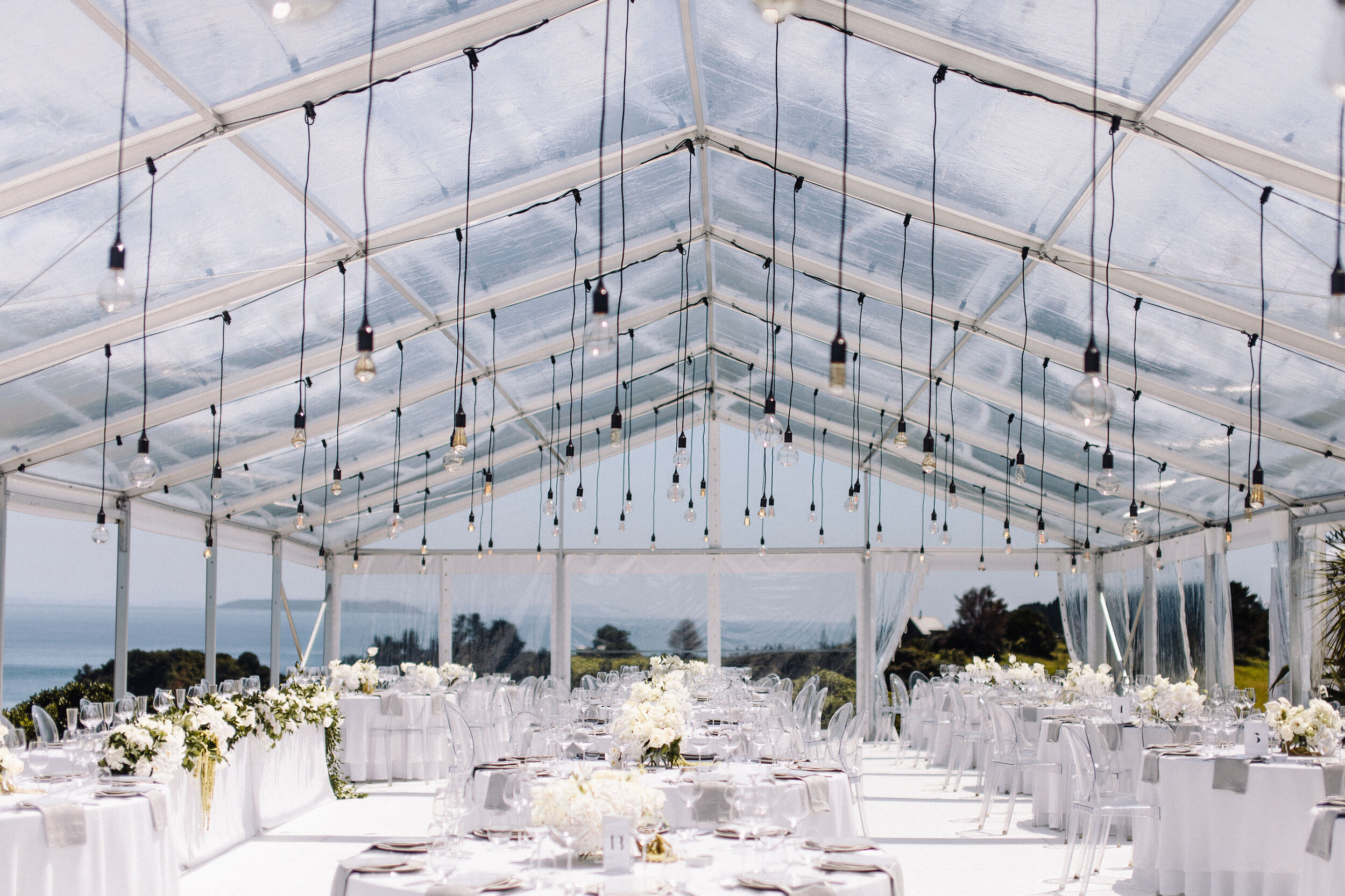 festoons with long black droppers