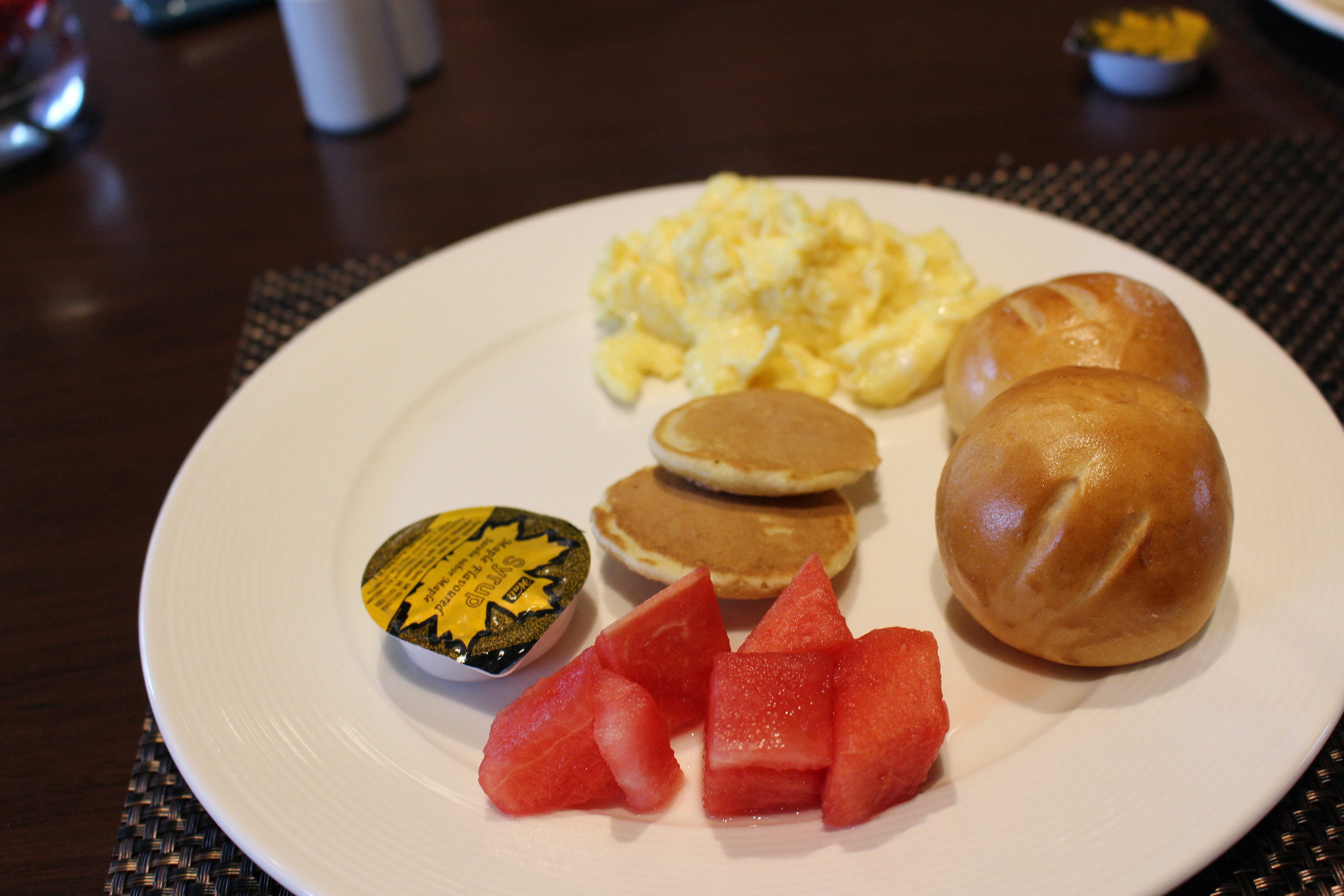 I had the breakfast of champions of mini pancakes, scrambled eggs, watermelon, and those yummy rolls from the night before.  Restaurant: Costa del Sol Wyndham Restaurant