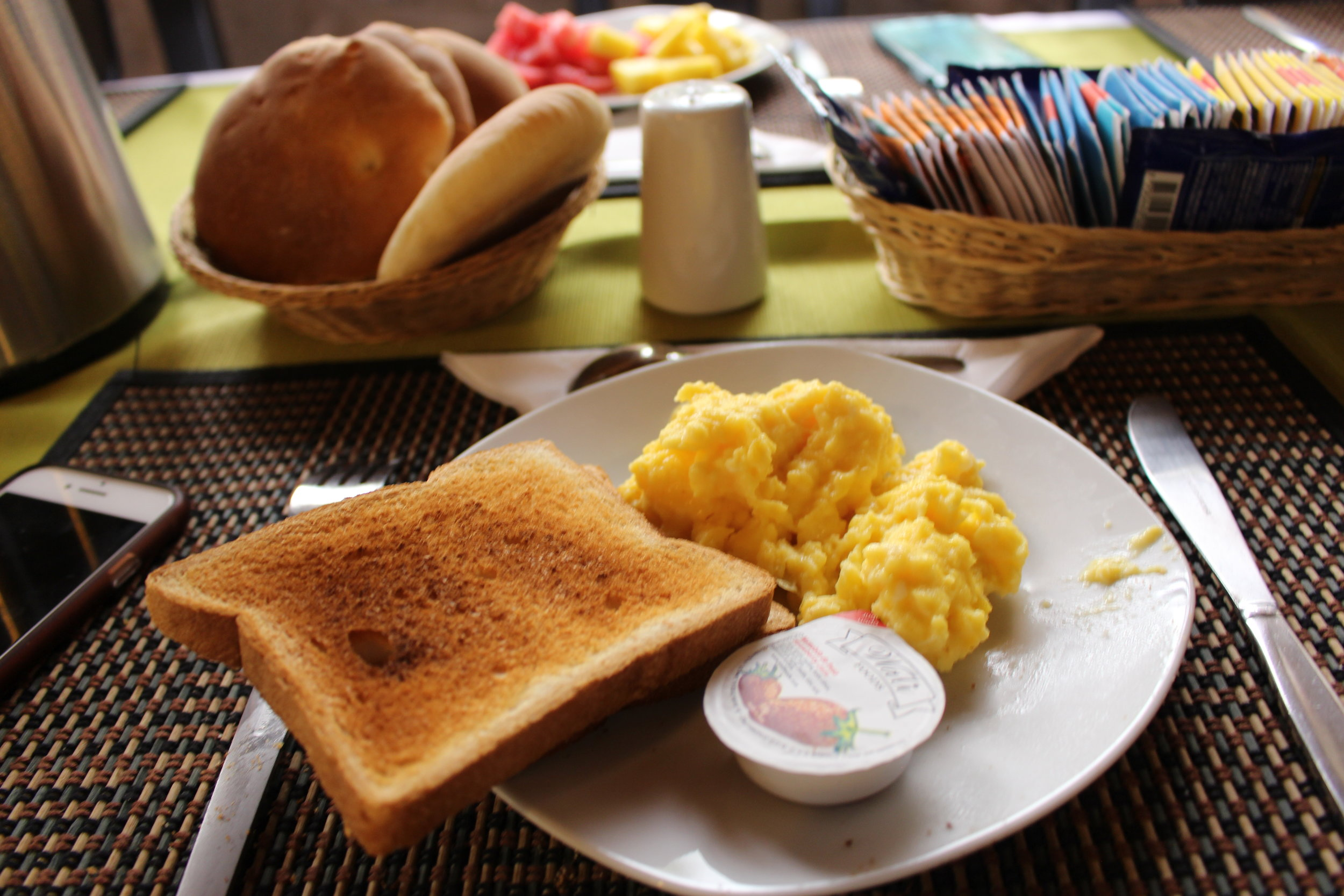 The next morning we had breakfast in the hotel, and I got some eggs and toast. In almost every hotel breakfast, scrambled eggs were the only food that had some protein in it.  Restaurant: Tunupa Lodge