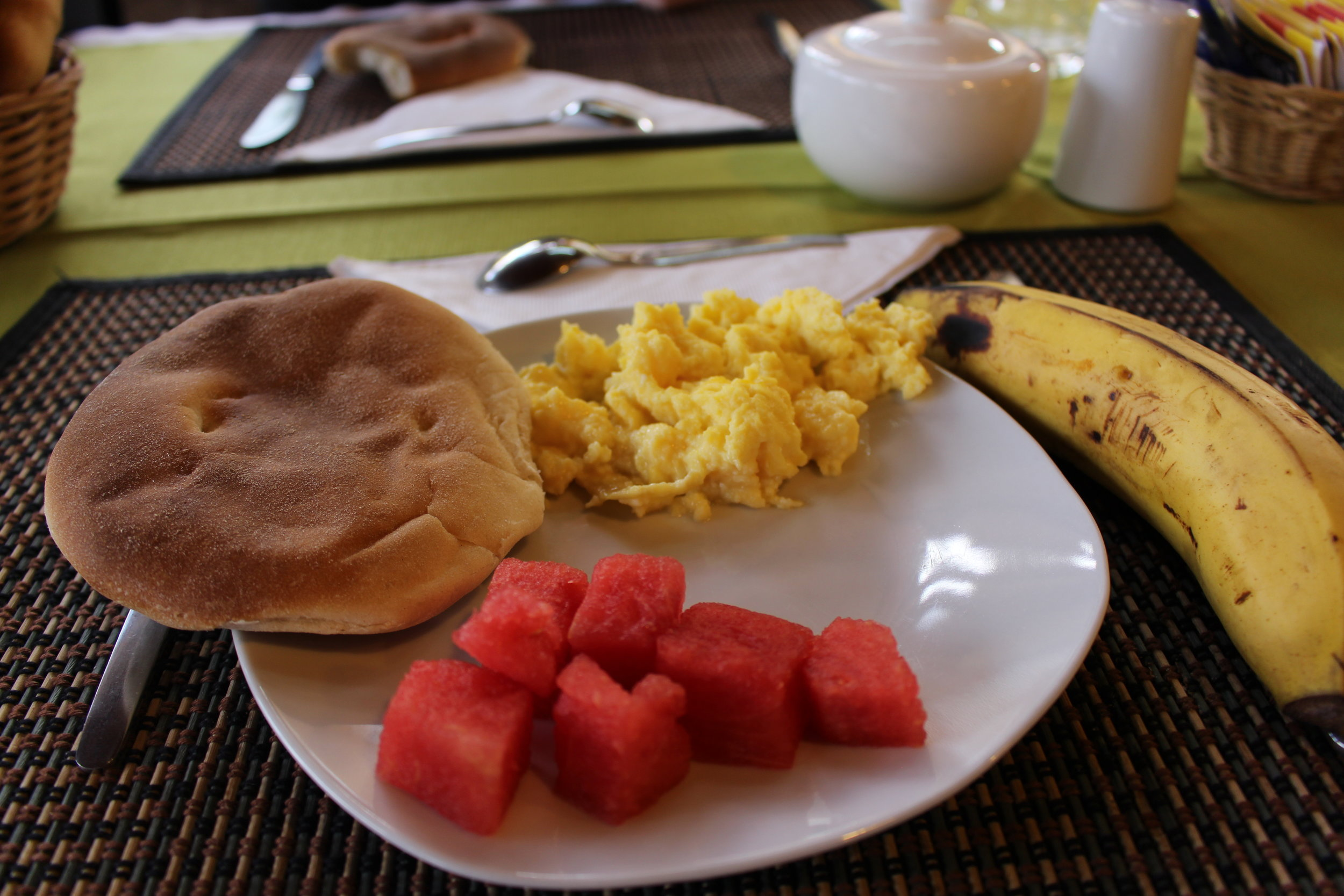 Guess what breakfast was! Eggs and toast, but I switched it up by adding some watermelon and a banana. Wow I was going crazy.  Restaurant: Tunupa Lodge Restaurant