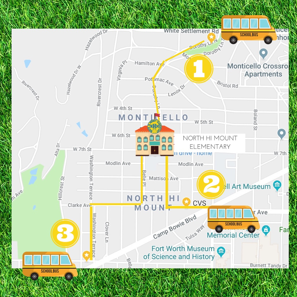 Join some amazing North Hi Mount parent and school volunteers with your student every fourth Friday morning and let them be a part of our Walking School Bus. There will be three locations to choose from departing at 7:20am. You are welcome to join your student or say your goodbyes at one of the drop-off locations (Monticello Park, CVS or Veteran's Park) as we safely escort them to school, promoting a healthy lifestyle for our NHM community.