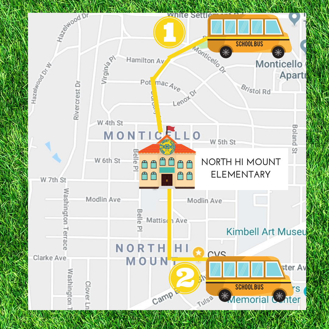 Join some amazing North Hi Mount parent and school volunteers with your student every fourth Friday morning and let them be a part of our Walking School Bus. There will be TWO locations in 2019 to choose from departing at 7:20am. You are welcome to join your student or say your goodbyes at one of the drop-off locations (Monticello Park or CVS) as we safely escort them to school, promoting a healthy lifestyle for our NHM community.