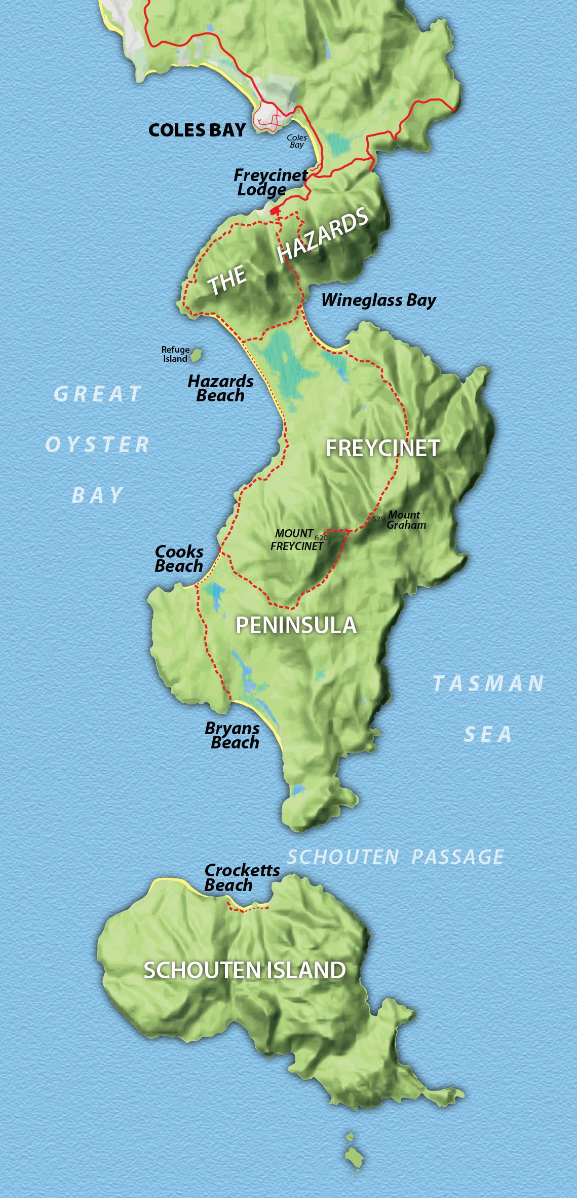 Freycinet Peninsula Map