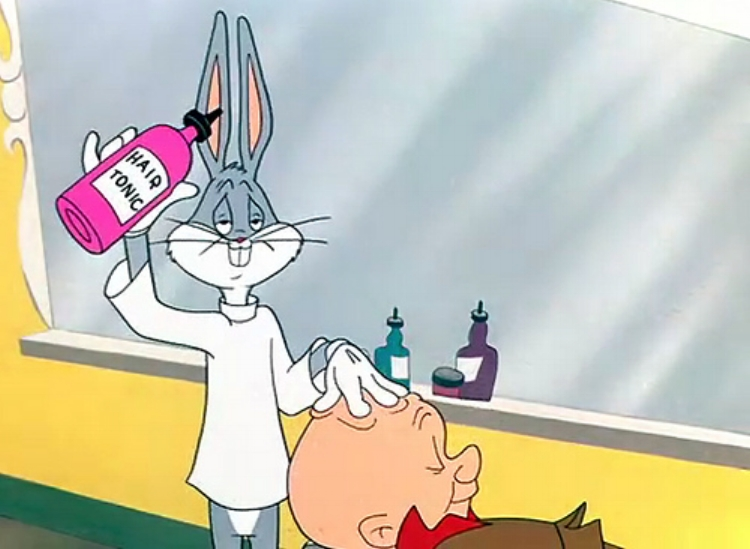 "Bugs Bunny massages Elmer Fudd's head in the classic cartoon, ""The Rabbit of Seville"""
