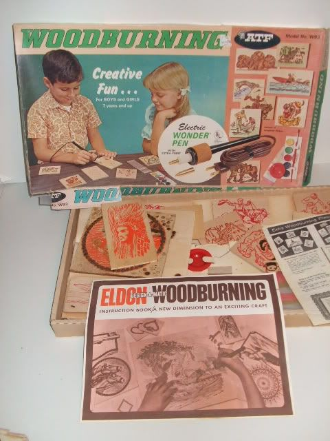 A VINTAGE 1970'S WOODBURNING KIT, SIMILAR TO THE ONE MENTIONED IN THIS EPISODE.