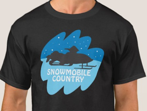 Snowmobile design with image saved as a PNG has greater appeal when printed on this black t-shirt