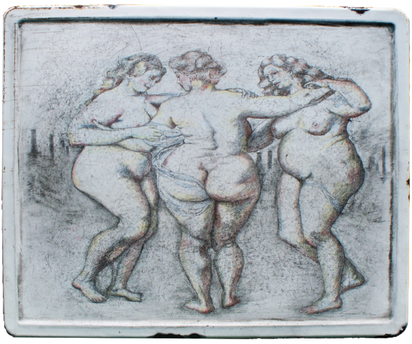 American Rubens - graphite drawing on an old enameled metal table top