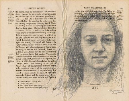 Portrait of a girl in graphite on 200 year old paper