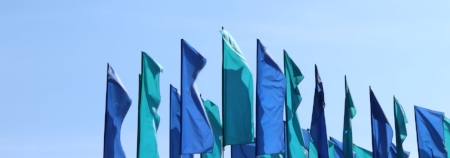 Blue flags flying at an outdoor festival