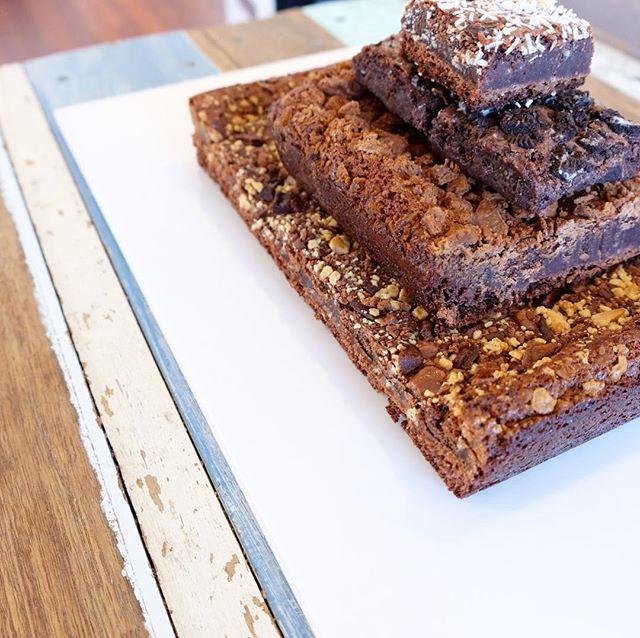 Birthday brownie stack 🙌 Killer combo of triple choc, Tim Tam, Oreo and Choc Coconut #baixbrownies