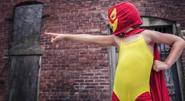 Think of me as your strategic superhero. (This is not me, I would personally go navy cape and grey leotard with just a pop of yellow on the mask.)