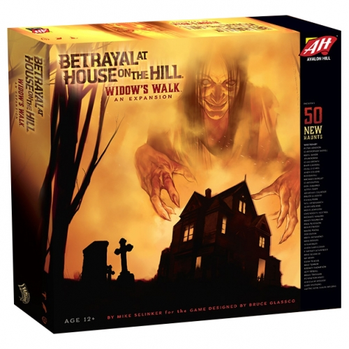 Widow's Walk Expansion - Betrayal at House on the Hill: Widow's Walk. The horror of Betrayal at House on the Hill reaches new heights, with this first ever expansion to the popular board game. Widow's Walk offers fans of the game 50 new haunts written by an all-star cast of contributors from the world of gaming and entertainment, and an entirely new floor of the house for players to explore: the roof. Additionally, this expansion includes new monsters, items, omens, and events to enhance the game. Players must have the Betrayal at House on the Hill board game to use this expansion. Contents: 1 rules sheet, 2 haunt books (Traitor's Tome, Part 2 and Secrets of Survival, Part 2), 20 room tiles, 30 new cards (8 omens, 11 events, 11 items), 76 tokens, 4 large circular monster tokens, 36 small circular explorer tokens, 36 square event and room tokens. Players: 3-6 players, ages 12+. Play Time: 1 hour.