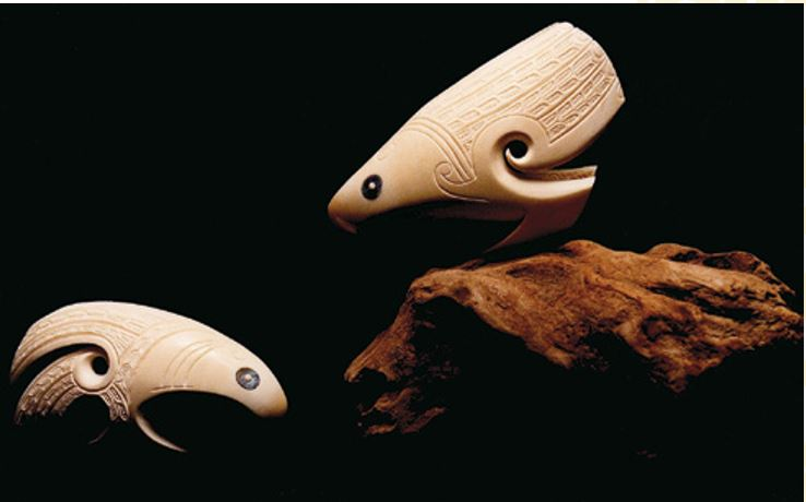For this carving I stylised a pair of eagles from two whale teeth and posed them standing, gazing down from their mountain-peak nest