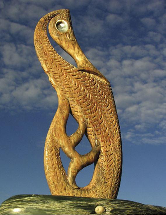 A whalebone carving of a sea horse