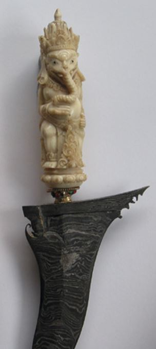 Carving of Ganesh on the handle of a kris knife, Bali, 1980s