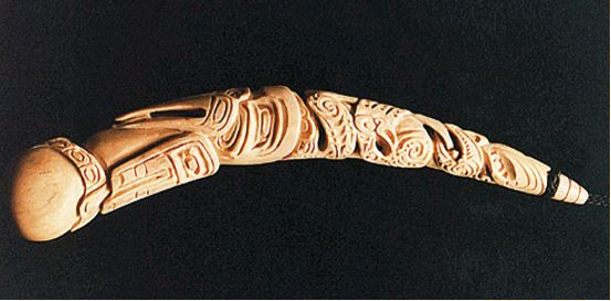 The carving named Same Here, based on the shape of a Canadian goat-horn spoon handle