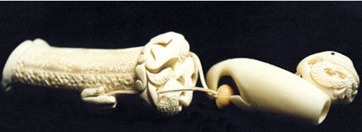 Hine Moana, a netsuke and nguru set combining Japanese and Māori elements