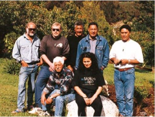 On their way to Öhaka Tapu are Haumanu members Brian Flintoff, Richard Nunns and Clem Mellish on the left, with Hirini Melbourne on the right and the crew of Rangiátea Films in the centre.  Photo: Julia Flintoff