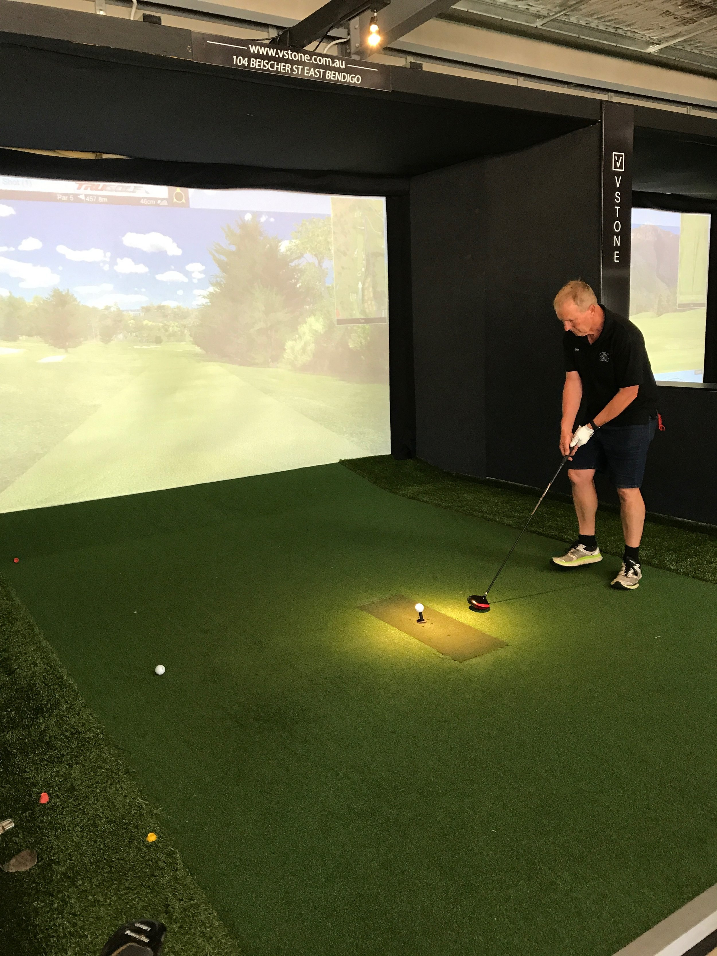 Me (Gary) doing a practice drive. You can see the fairway on the screen.